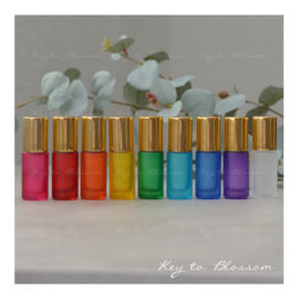 Rainbow Roller Bottles (5ml) with Shiny Golden Caps - Set of 9