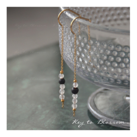 Lava Rock Earrings - Chain Moonstone (golden)