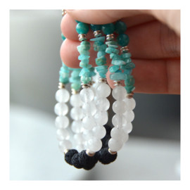 Lava Rock Bracelet with gemstones - Amazonite and Snow Quartz