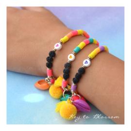 Lava Rock KIDS armband Geel/Turquoise/Roze