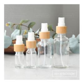Glazen spray flesjes - Set van 4 (5 - 50 ml) - Bamboe/Doorzichtig