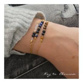 Lava Rock armband met edelstenen - Tijgeroog