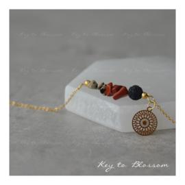 Lava Rock armband met edelstenen SPECIAL - Jaspis Rood en Jaspis Dalmatiër