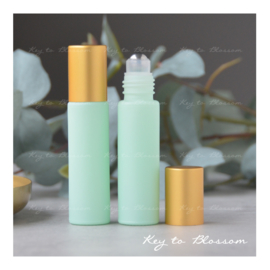 Rainbow Roller Bottle (10ml) with Matte Golden Cap - Aqua Matte
