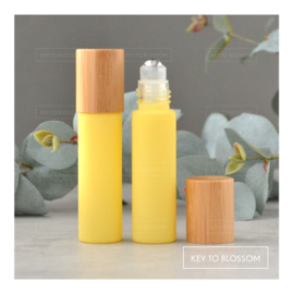 Rainbow Roller Bottle (10ml) with Bamboo Cap - Light Yellow/Pastel (matte)