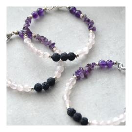 Lava Rock armband met edelstenen - Rozenkwarts en Amethist