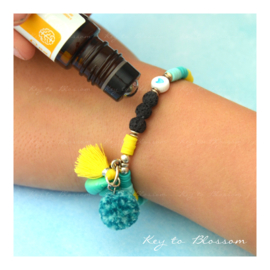 Lava Rock KIDS armband Geel/Licht Turquoise/Turquoise