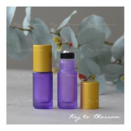 Rainbow Roller Bottle (5ml) with Matte Golden Cap - Purple