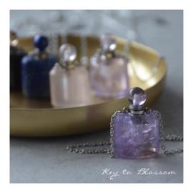 Ketting Parfumflesje - Rozenkwarts