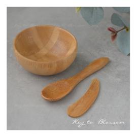 Bamboo Bowl 50 ml, incl 2 bamboo spoons