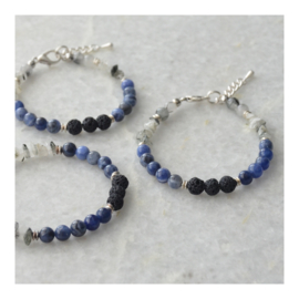 Lava Rock Bracelet with gemstones - Tourmaline Quartz  and Sodalite