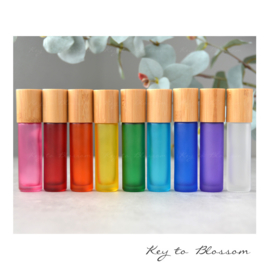 Rainbow Roller Bottles (10 ml) with Bamboo Lids - Set of 3 (Mix&Match)