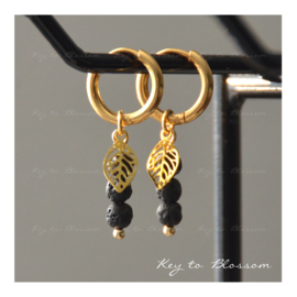 Lava Rock Earrings - Leaf (golden)