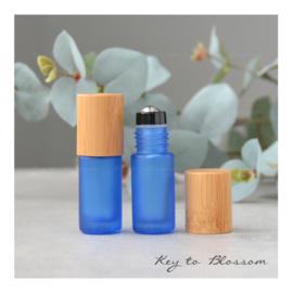 Rainbow Roller Bottle (5ml) with Bamboo Cap - Dark Blue