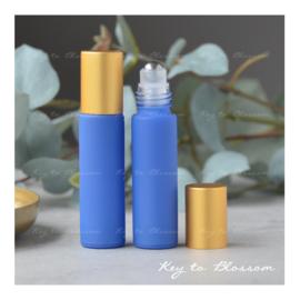 Rainbow Roller Bottle (10ml) with Matte Golden Cap - Dark Blue Matte