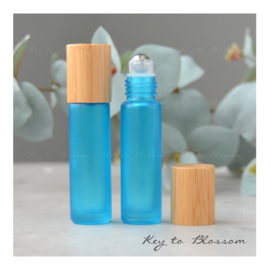 Rainbow Roller Bottle (10ml) with Bamboo Cap - Light Blue/Teal