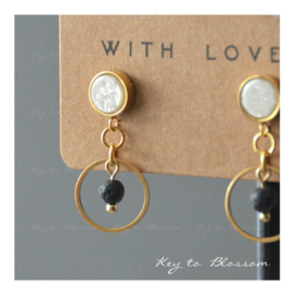 Lava Rock Earrings - Hoop (golden)