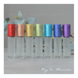 Glass Roller Bottles (8ml) with Brushed Rainbow Caps - Set of 7 - Boho Dotted
