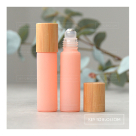 Rainbow Roller Bottle (10ml) with Bamboo Cap - Light Pink/Salmon