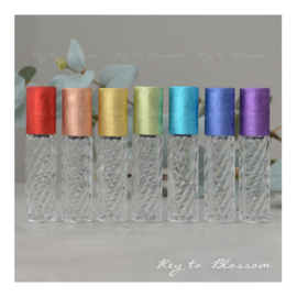 Glass Roller Bottles (10ml) with Brushed Rainbow Caps - Set of 7 - Boho Swirl
