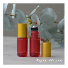 Rainbow Roller Bottle (5ml) with Matte Golden Cap - Red