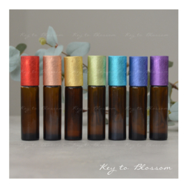 Glass Roller Bottles (10ml) with Brushed Rainbow Caps - Set of 7 - Amber Brown