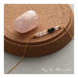 Lava Rock armband met edelstenen - Rozenkwarts