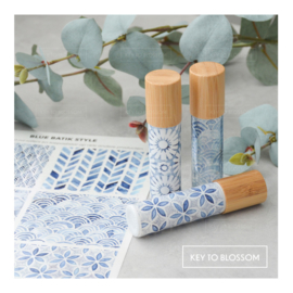 Sticker Set Blue Batik Style - Set of 6