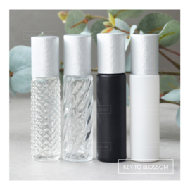 Glazen Roller 10 ml - Brushed Silver (diverse opties)