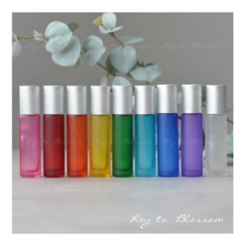 Rainbow Roller Bottles (10ml) with Brushed Silver Caps - Set of 9