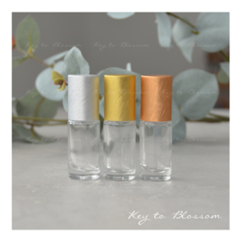 Glass Roller Bottle (5ml) - Silver, Golden and Bronze NEW STYLE