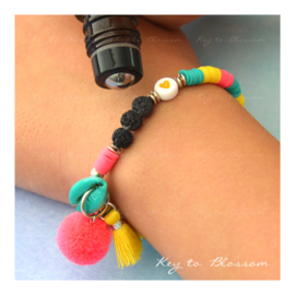 Lava Rock KIDS armband Geel/Turquoise/Roze