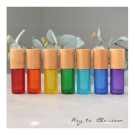 Rainbow Roller Bottle (5ml) with Bamboo Cap - Orange