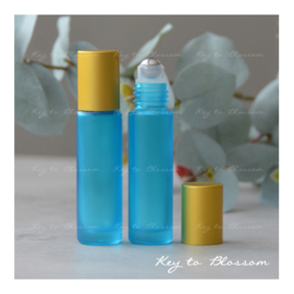 Rainbow Roller Bottle (10ml) with Matte Golden Cap - Light Blue/Teal