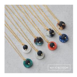 Lava Rock Necklace Epoxy Charm - Golden (multiple options)
