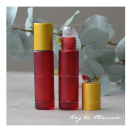 Rainbow Roller Bottle (10ml) with Matte Golden Cap - Red