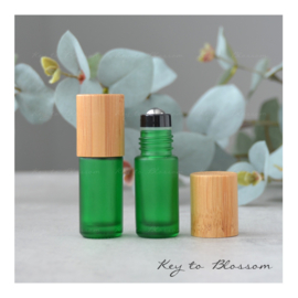 Rainbow Roller Bottle (5ml) with Bamboo Cap - Green