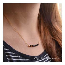 Lava Rock Necklace Bar - Golden Bead