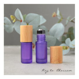 Rainbow Roller Bottle (5ml) with Bamboo Cap - Purple