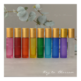 Rainbow Roller Bottles (10ml) with Matte Golden Caps - Set of 9