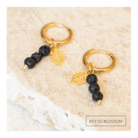 Lava Rock Earrings - Leaf (golden)