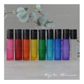 Rainbow Roller Bottles (10ml) with Brushed Black Caps - Set of 9