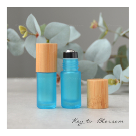 Rainbow Roller Bottle (5ml) with Bamboo Cap - Light Blue/Teal