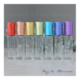 Glass Roller Bottles (10ml) with Brushed Rainbow Caps - Set of 7