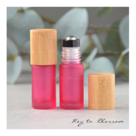 Rainbow Roller Bottle (5ml) with Bamboo Cap - Pink
