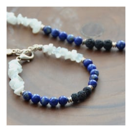 Lava Rock Bracelet with gemstones - Lapis Lazuli and Moonstone