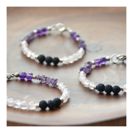 Lava Rock Bracelet with gemstones - Amethyst and Rose Quartz