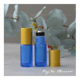 Rainbow Roller Bottle (5ml) with Matte Golden Cap - Dark Blue
