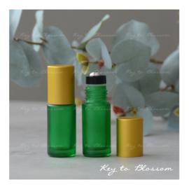 Rainbow Roller Bottle (5ml) with Matte Golden Cap - Green