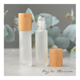 Rainbow Roller Bottle (10 ml) with Bamboo Lid - White